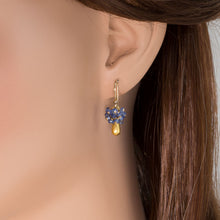 Load image into Gallery viewer, Gold Tear Drop Sapphire Cluster Earrings