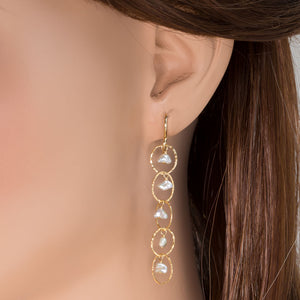 Pearl Drop Link Earrings