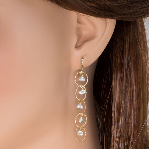 Keshi Pearl Linked  Earrings