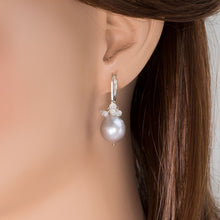 Load image into Gallery viewer, Pearl Drop Moonstone Cluster Earrings