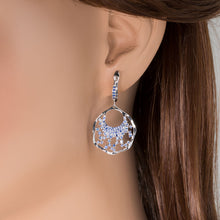 Load image into Gallery viewer, Blue Sapphire Fan Drop Earrings