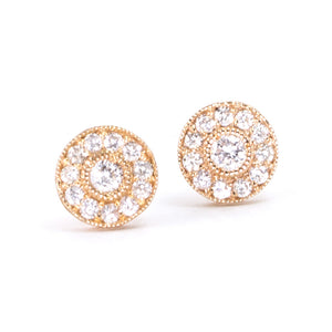 Large Vintage Diamond Stud Earrings
