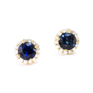 Blue Sapphire Diamond Halo Stud Earrings