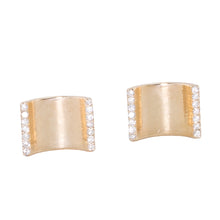 Load image into Gallery viewer, Curve Diamond Row Stud Earrings