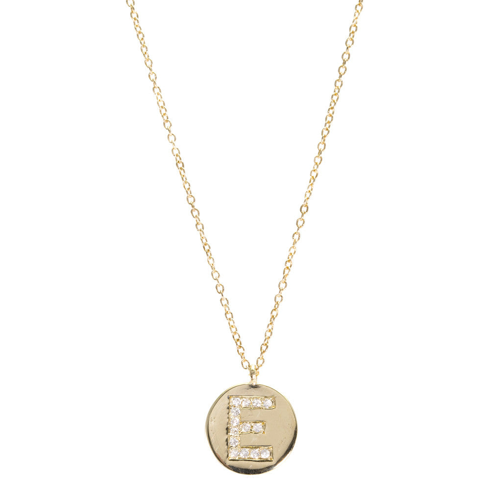 Large Initial Disc Diamond Necklace