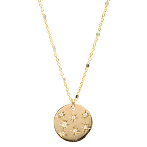 Stars Diamond Disc Necklace