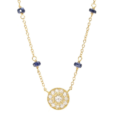 Diamond & Blue Sapphire Necklace - Vintage Inspired