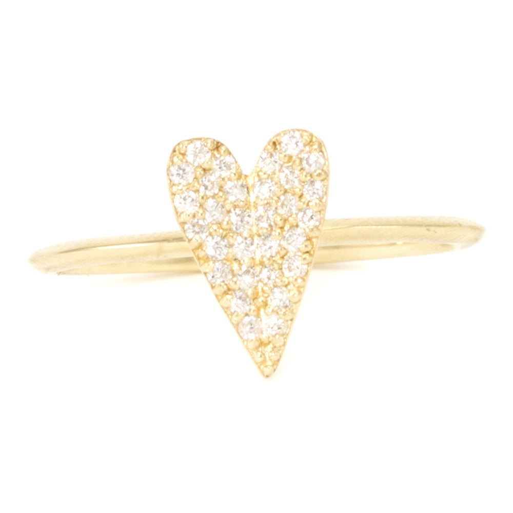 Folded Heart Diamond Ring