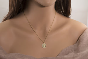 Lotus & Om Reversible Coin Necklace
