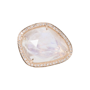 Large Rainbow Moonstone Slice Diamond Ring