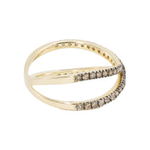 Load image into Gallery viewer, Slim Criss Cross Champagne Diamond Ring