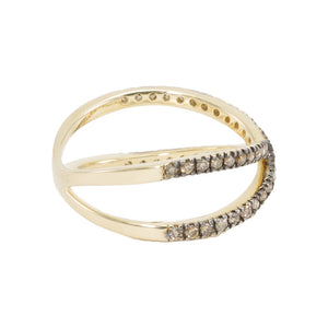 Slim Criss Cross Champagne Diamond Ring