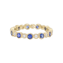 Load image into Gallery viewer, Diamond & Blue Sapphire Eternity Band with Alternating Bezels