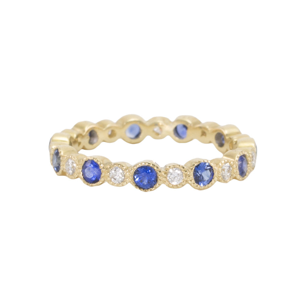 Diamond & Blue Sapphire Eternity Band with Alternating Bezels
