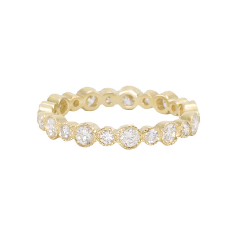 Diamond Eternity Band with Alternating Bezels - Vintage Inspired