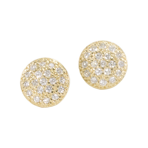 Medium Diamond Disc Stud Earrings