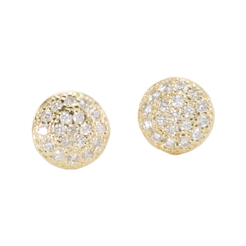 Small Diamond Disc Stud Earrings