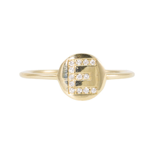 Initial Diamond Disc Ring