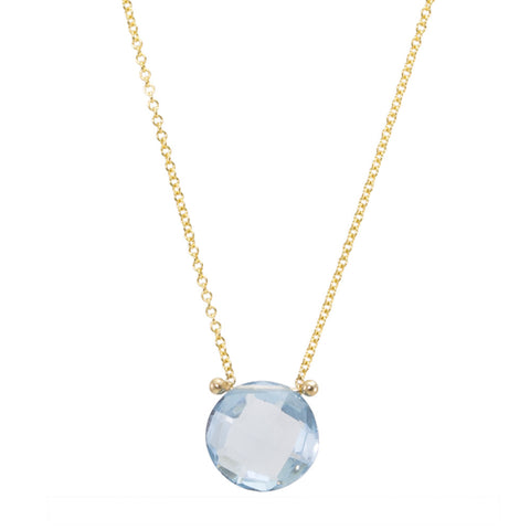 Blue Topaz Drop Pinned Necklace
