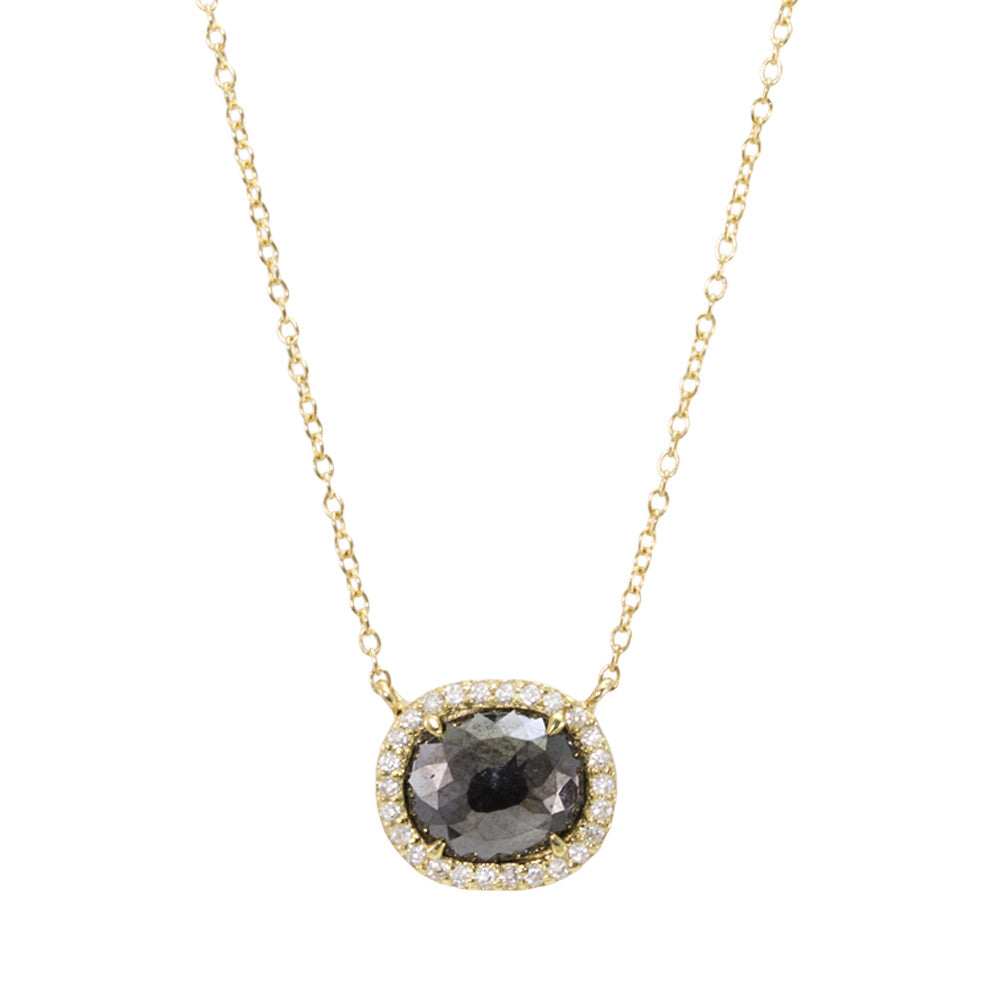 Black Diamond Halo Necklace