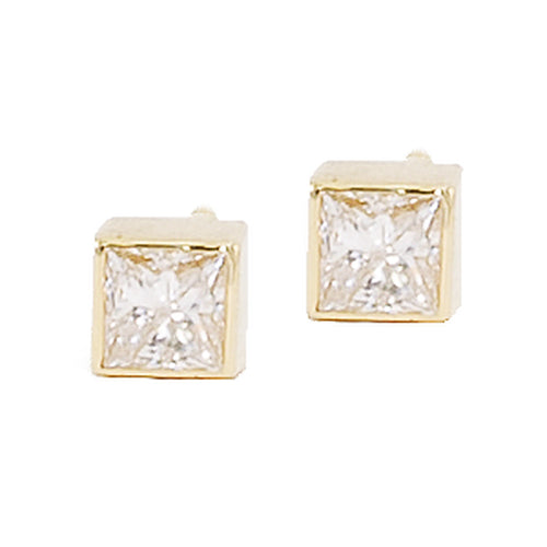 Large Square Diamond Stud Earrings