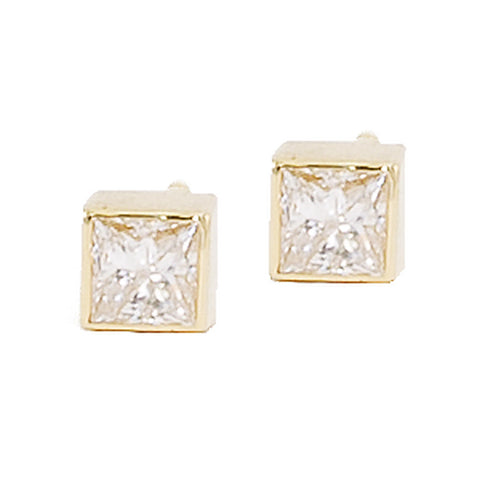 Large Square Diamond Studs