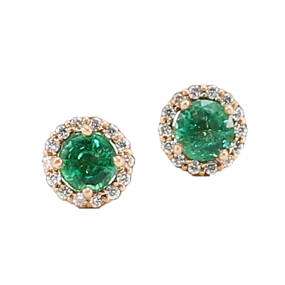 Colombian Emerald Diamond Halo Stud Earrings