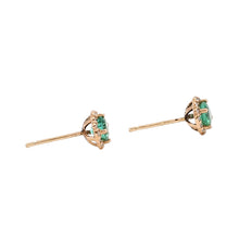 Load image into Gallery viewer, Colombian Emerald Diamond Halo Stud Earrings