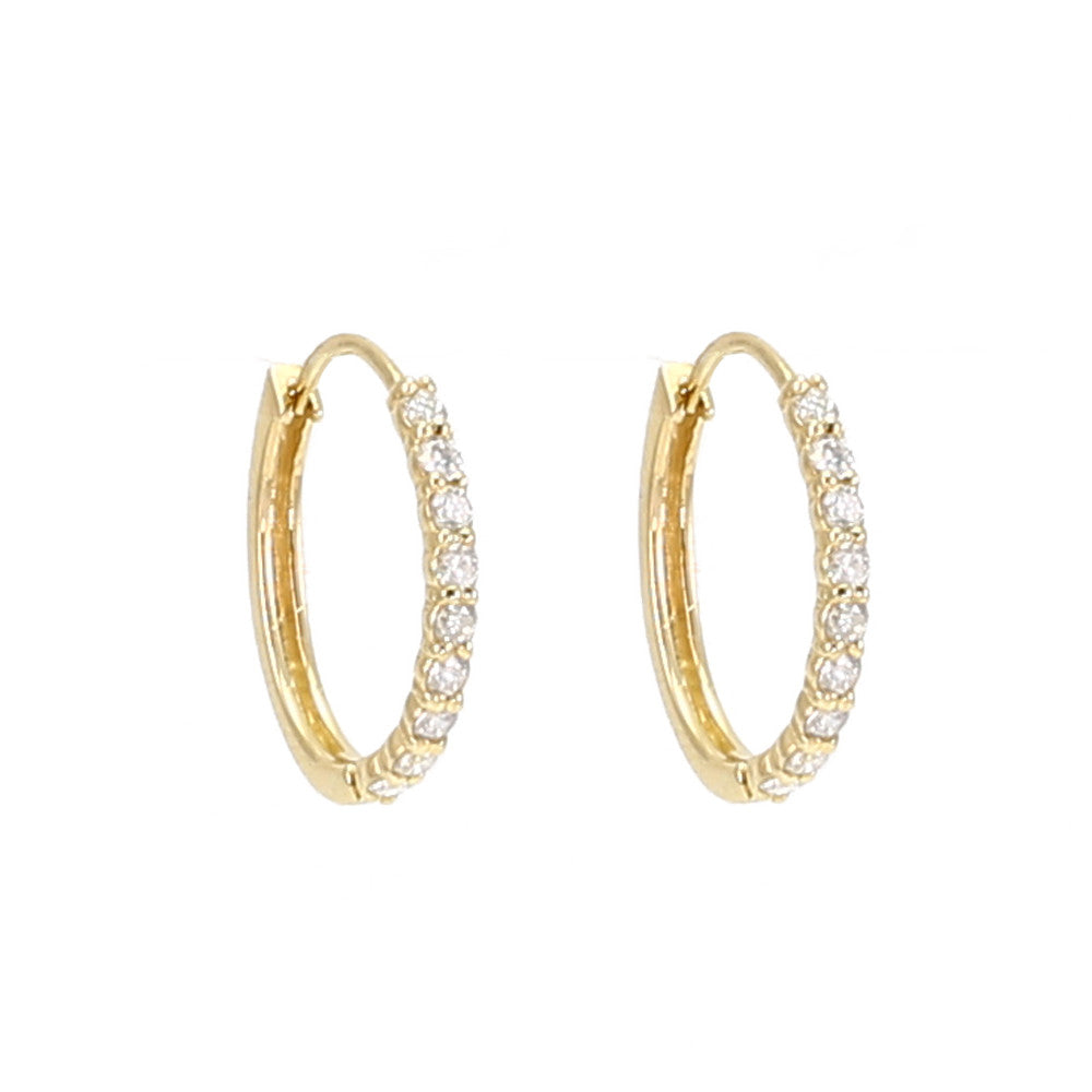 Single Row Diamond Front Hoop Earrings