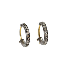 Load image into Gallery viewer, Champagne Diamond Black Rhodium Huggie Earrings