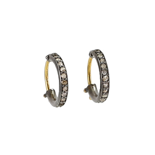 Champagne Diamond Black Rhodium Huggie Earrings