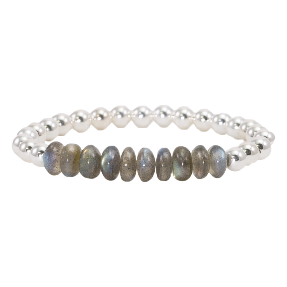 6mm Sterling Silver Beads with Labradorite Bracelet