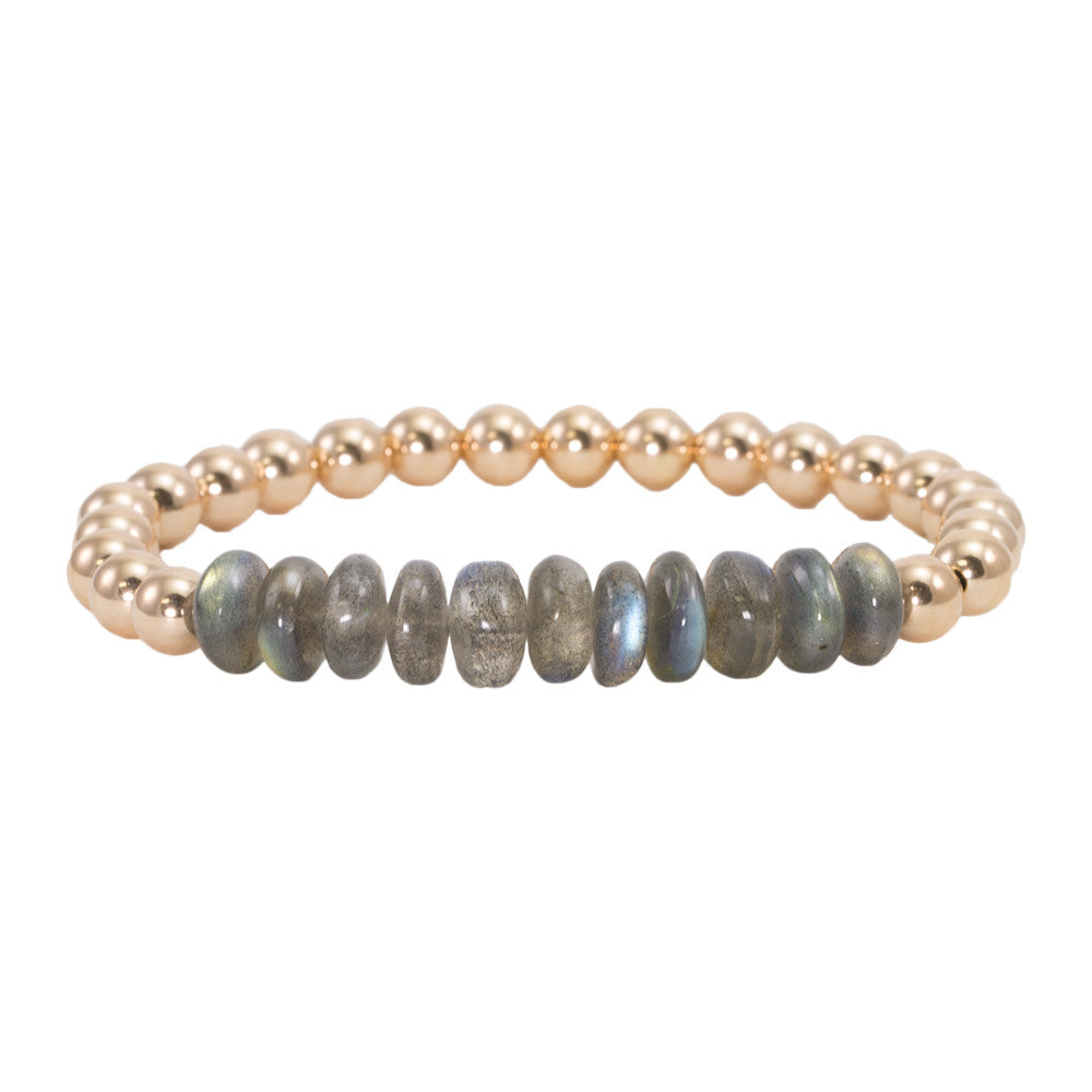 6mm Gold Filled Beads with Labradorite Bracelet