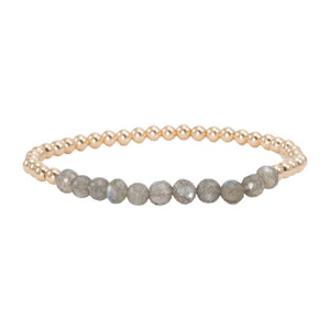 4mm Gold Filled Beads with Labradorite Bracelet