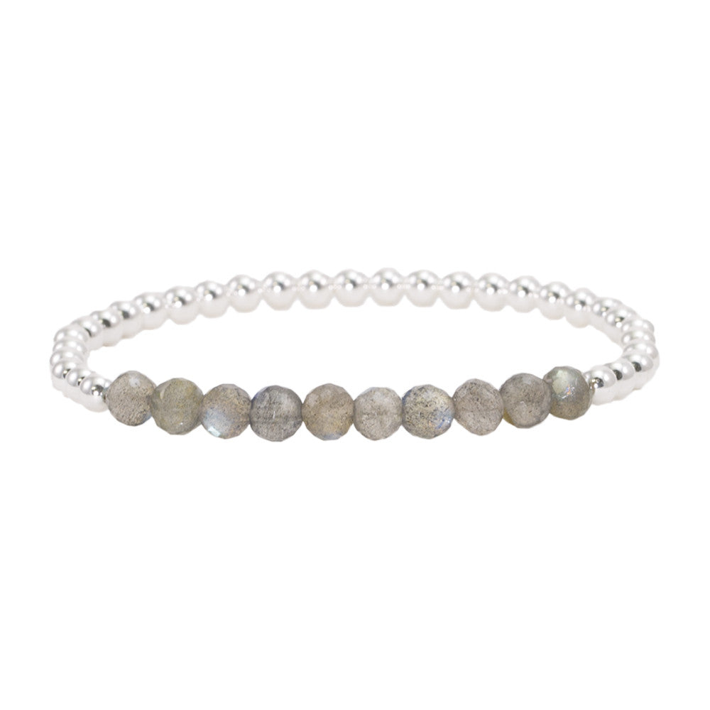 4mm Sterling Silver Beads with Labradorite Bracelet