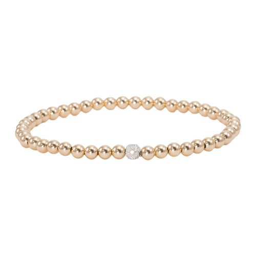 4mm Gold Filled with 14k Gold and Pave Diamond Bead Bracelet
