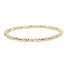 Load image into Gallery viewer, 4mm Gold Filled with 14k Gold and Pave Diamond Bead Bracelet