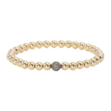 Load image into Gallery viewer, 5mm Gold Filled Beads with Champagne Diamond Bead Bracelet