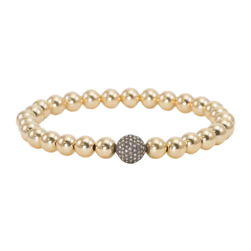 6mm Gold Filled Beads with Champagne Diamond Bead Bracelet