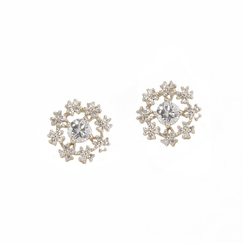 Snowflake Diamond Stud Earrings