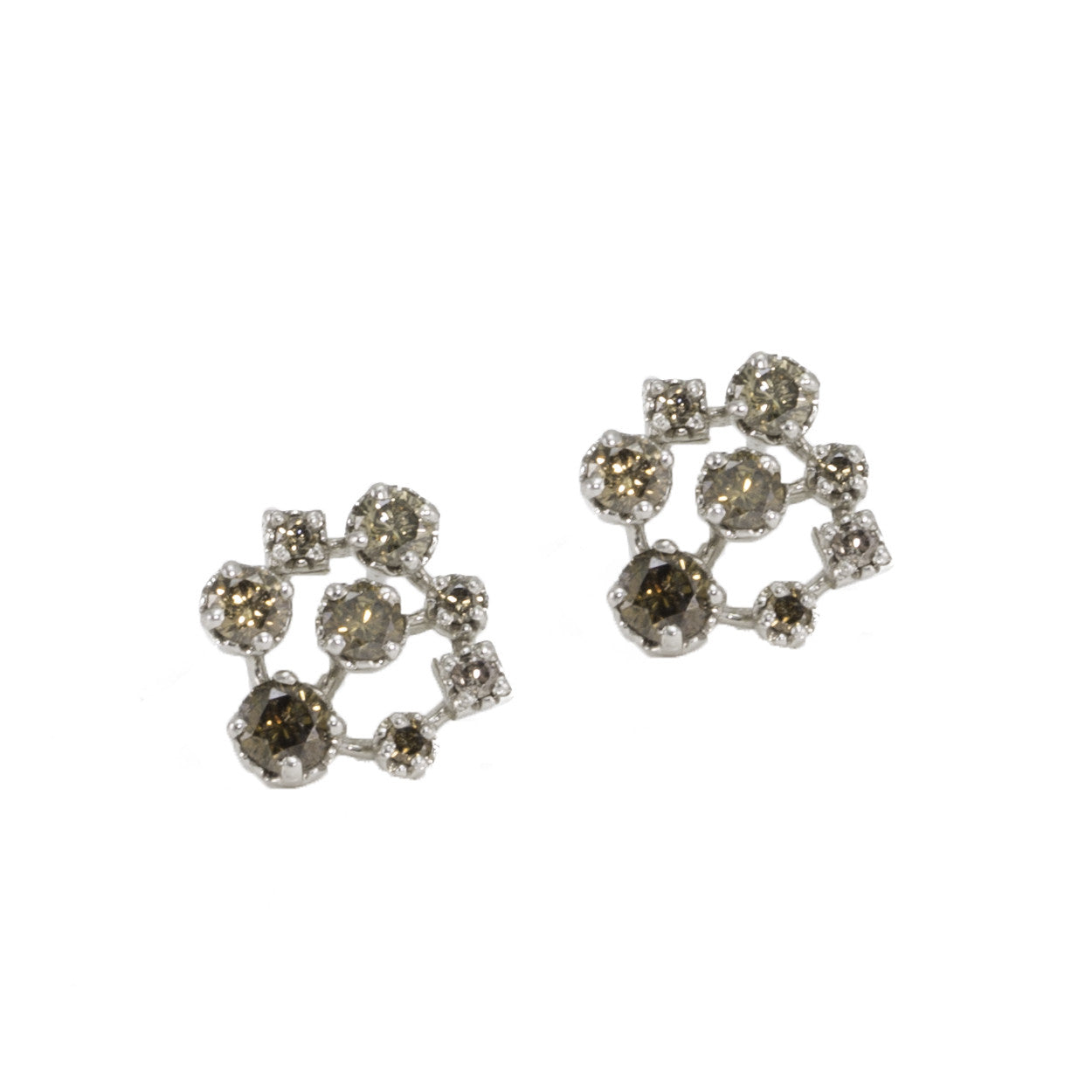 stud triple views earrings diamond yellow gold cluster champagne more