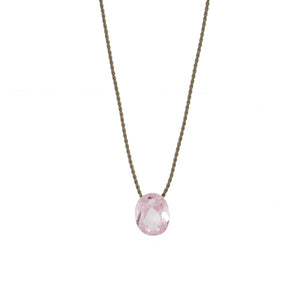 Pink Crystal Silk Necklace
