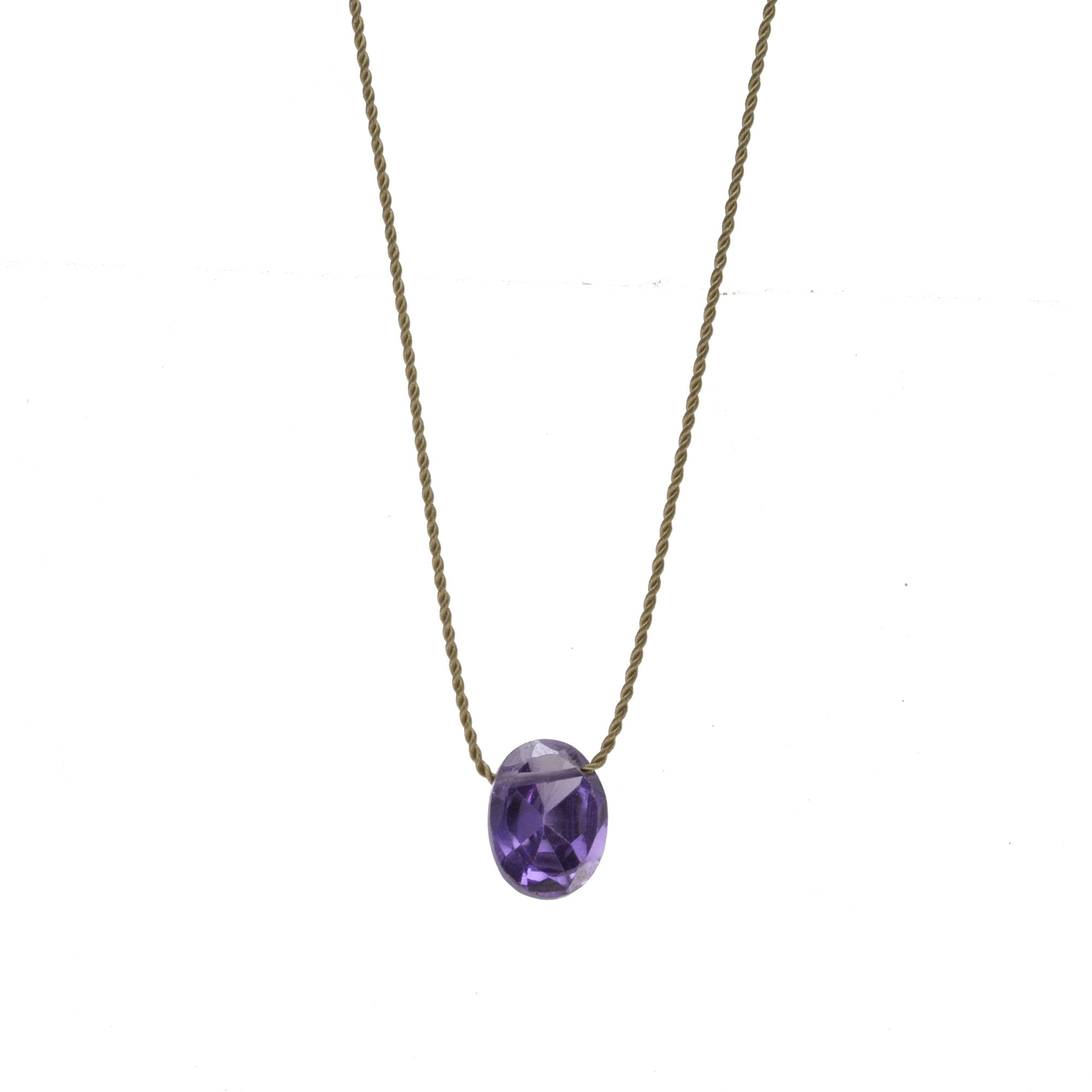 Purple Crystal Silk Necklace
