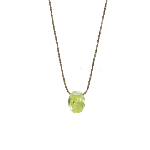 Green Crystal on Silk Necklace