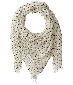 Stars White Cashmere and Silk Scarf