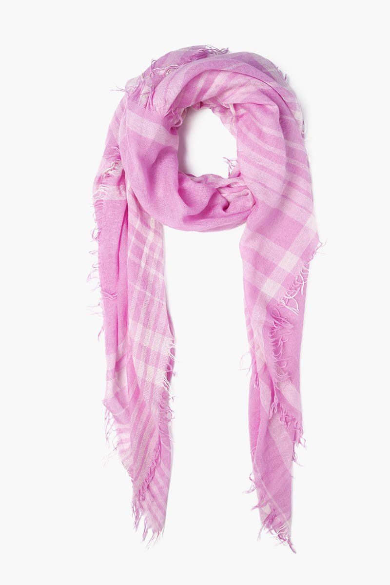 Violet Plaid Cashmere and Silk Scarf