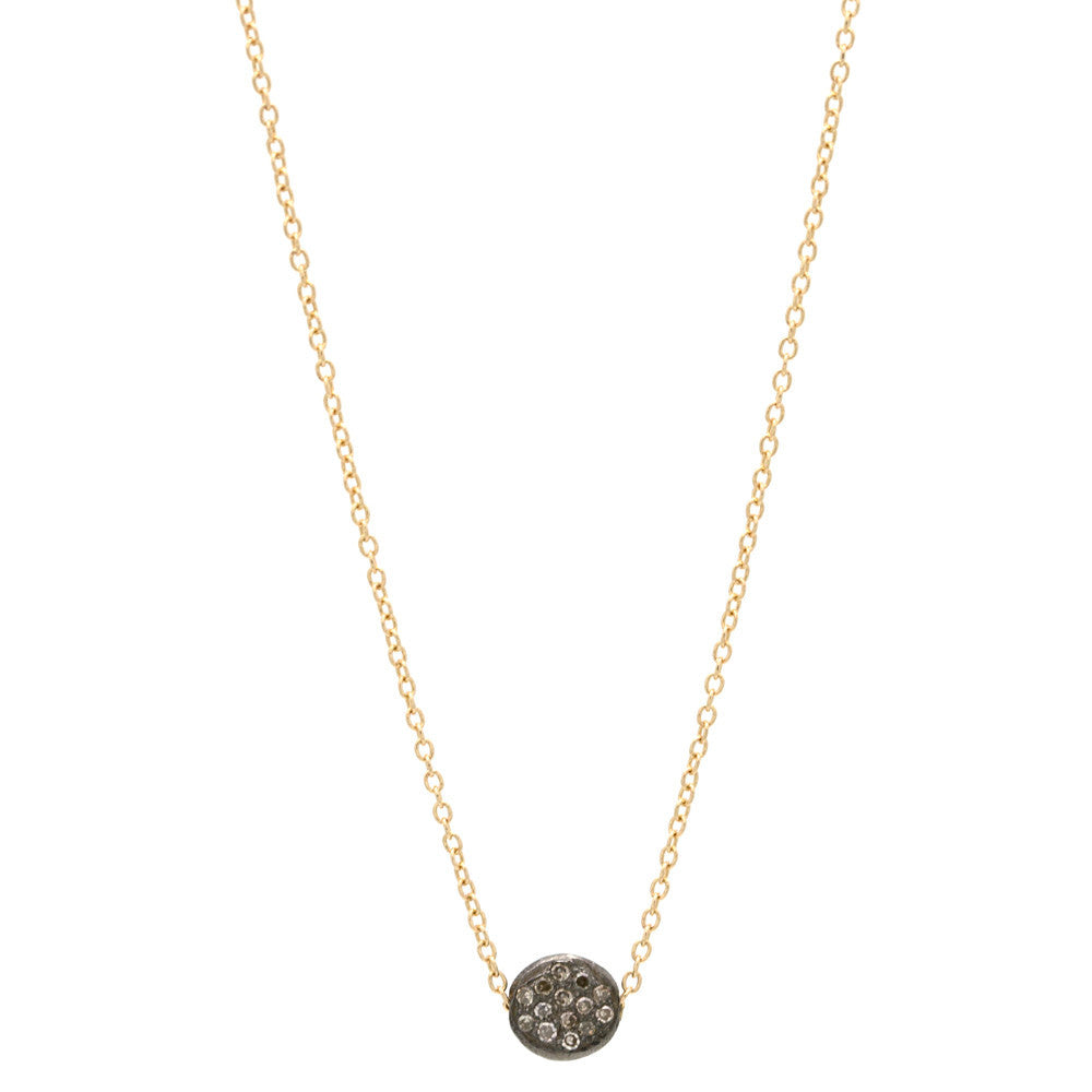 Pave Bead Champagne Diamond  Necklace