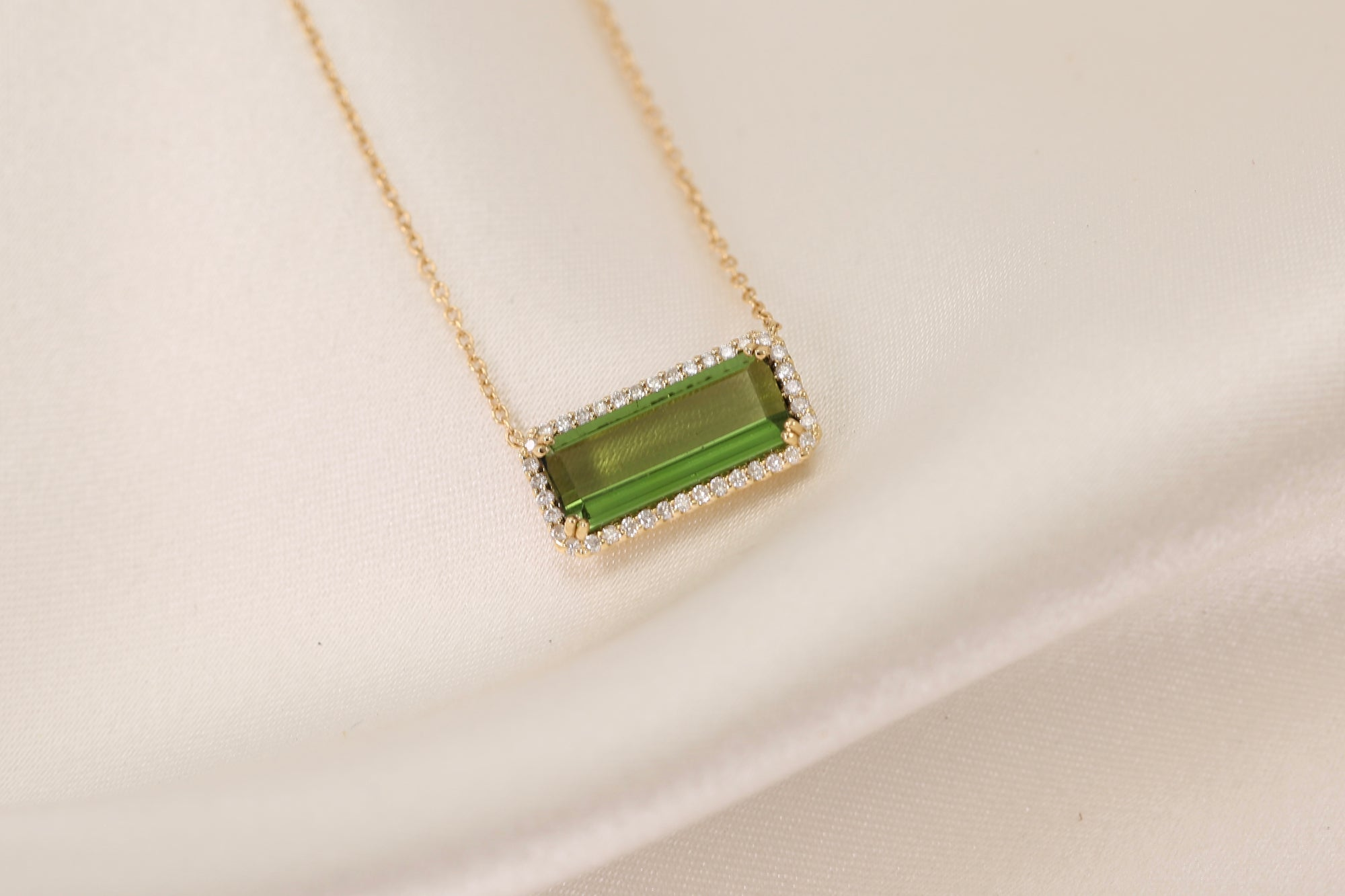 Medium Green Tourmaline Diamond Necklace