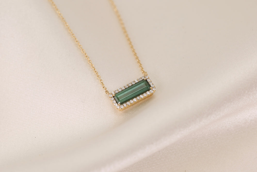 Small Green Tourmaline and Diamond Necklace