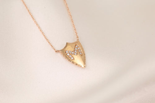 Initial Shield Diamond Necklace